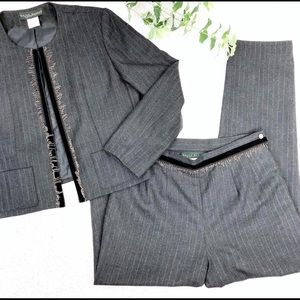 Harve Benard Wool Pants Suit Embellished Pinstripe